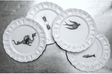 Set of 4 Large Dinner Plates Mammiferi Esclusi