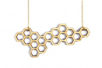Necklace Wooden Hexagon