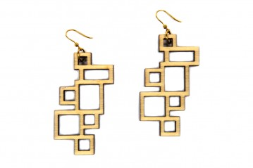 Earrings Wooden Rectangle