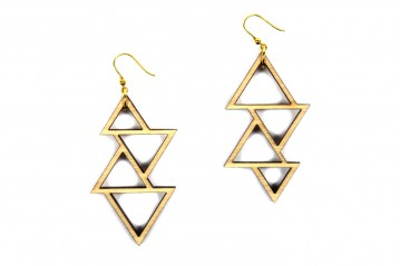 Earrings Wooden Triangle